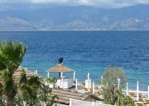 Beach and view to Sicily, Reggio di Calabria